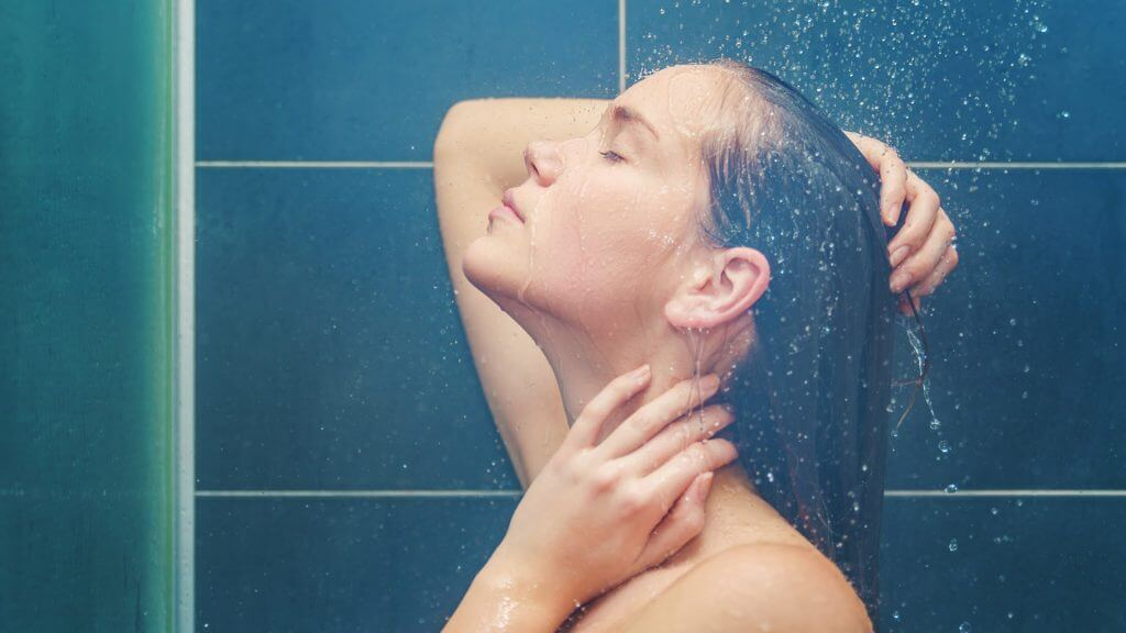 wash hair with warm water